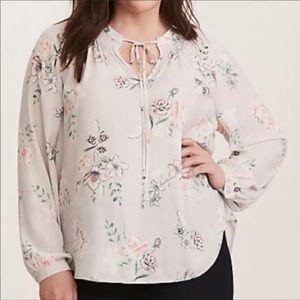 Torrid Size 1 Floral Long Sleeve Blouse